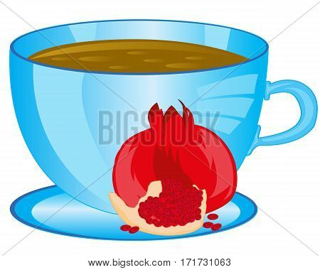 Cup of the drink tea and fruit garnet on white background