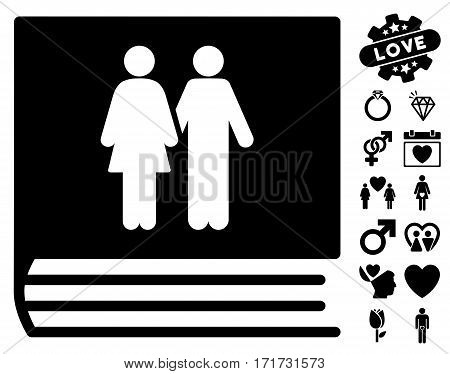 Family Album icon with bonus valentine icon set. Vector illustration style is flat iconic black symbols on white background.
