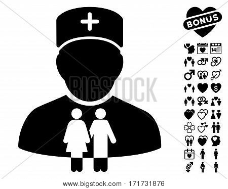 Family Doctor pictograph with bonus decorative pictograph collection. Vector illustration style is flat iconic black symbols on white background.