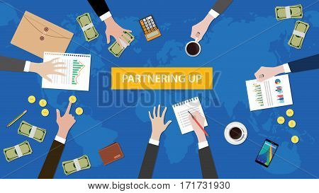 partnering up concept discussion in a meeting illustration with paperworks, money and folder document on top of table vector