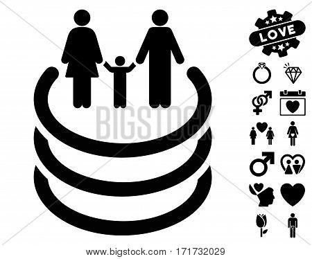 Family Portal icon with bonus decorative symbols. Vector illustration style is flat iconic black symbols on white background.