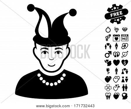 Fool pictograph with bonus decoration pictures. Vector illustration style is flat iconic black symbols on white background.