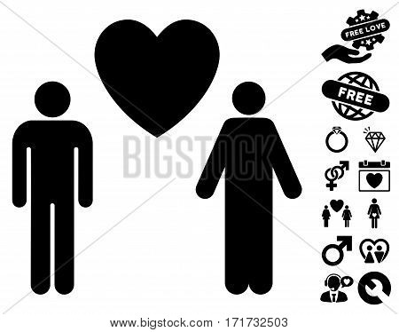 Gay Lovers icon with bonus amour pictograph collection. Vector illustration style is flat iconic black symbols on white background.