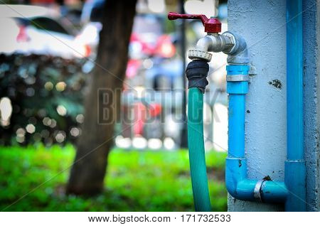Close up Outside water Faucet and pipe line