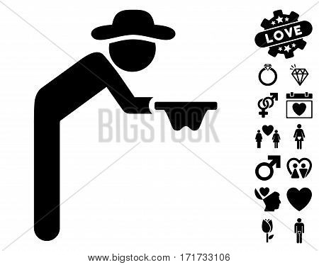 Gentleman Beggar icon with bonus decoration symbols. Vector illustration style is flat iconic black symbols on white background.