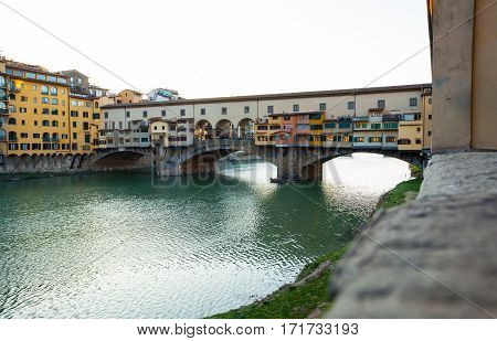 Bridge Ponte Vecchio At Sunset, Florence.