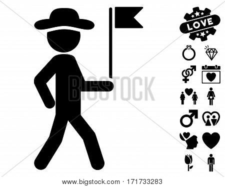 Gentleman Flag Guide icon with bonus amour pictograph collection. Vector illustration style is flat iconic black symbols on white background.