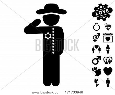 Gentleman Officer pictograph with bonus valentine pictograms. Vector illustration style is flat iconic black symbols on white background.