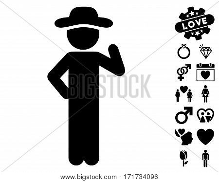Gentleman Proposal icon with bonus valentine pictograph collection. Vector illustration style is flat iconic black symbols on white background.