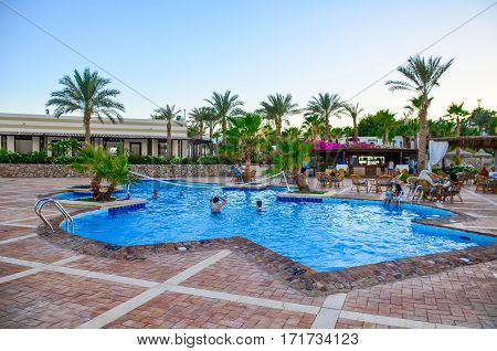 EGYPT SHARM EL SHEIKH - 08 JUNE / 2015: Visitors at rest in the pool at the hotel.