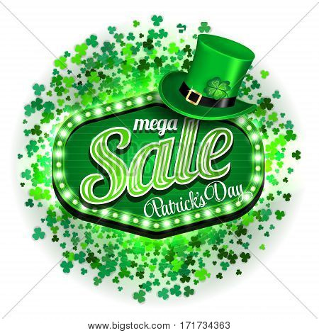 Background St. Patrick's day mega Sale. Banner or poster or flyer model. Green light frame with leprechaun hat and clover on white background. Vector illustration.