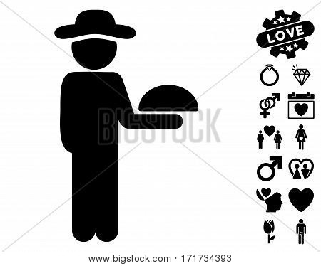 Gentleman Waiter pictograph with bonus love images. Vector illustration style is flat iconic black symbols on white background.