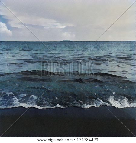Digital illustration - The wave from the ocean and distant island. Tropical island view from the beach. Exotic island in sea. Beach landscape with the ocean and horizon line. Painting style picture