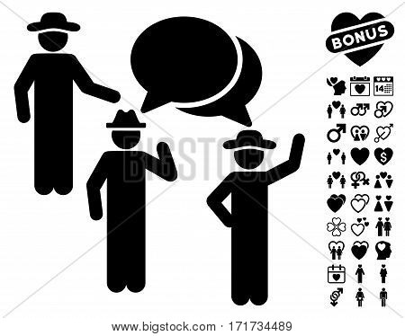 Gentlemen Discussion pictograph with bonus marriage icon set. Vector illustration style is flat iconic black symbols on white background.