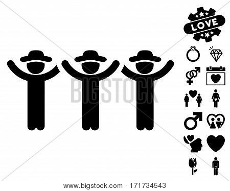 Gentlemen Hands Up Roundelay pictograph with bonus valentine pictures. Vector illustration style is flat iconic black symbols on white background.
