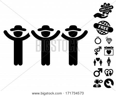 Gentlemen Hands Up Roundelay pictograph with bonus passion design elements. Vector illustration style is flat iconic black symbols on white background.