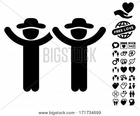 Hands Up Gentlemen pictograph with bonus valentine pictograph collection. Vector illustration style is flat iconic black symbols on white background.