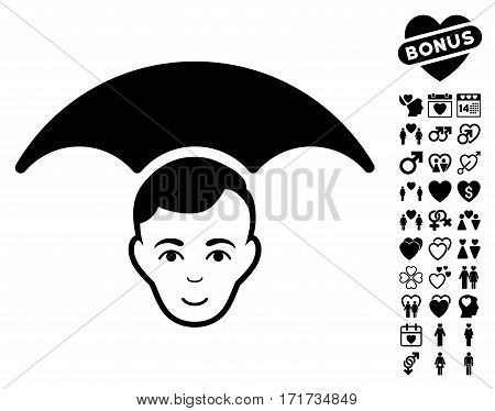 Head Umbrella pictograph with bonus marriage pictograph collection. Vector illustration style is flat iconic black symbols on white background.