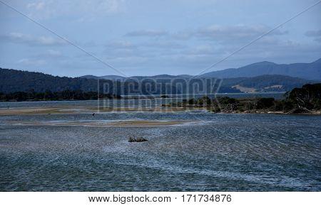 Wallagaraugh River at Mallacoota. Mallacoota is a small town in the East Gippsland region of Victoria, Australia.