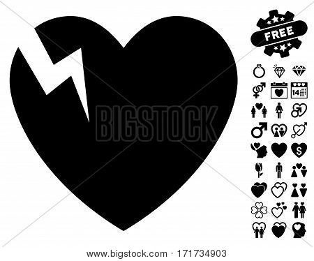 Heart Crack icon with bonus amour pictograph collection. Vector illustration style is flat iconic black symbols on white background.