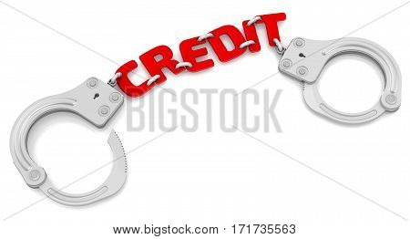 Bad credit. Steel handcuffs with red word