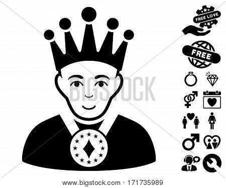 King pictograph with bonus passion pictures. Vector illustration style is flat iconic black symbols on white background.