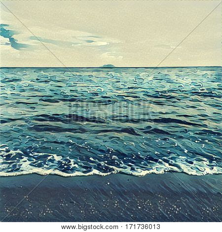 Digital illustration - The wave from the ocean and distant island. Tropical island view from the beach. Exotic island in sea. Beach landscape with the ocean and horizon line. Japanese style painting
