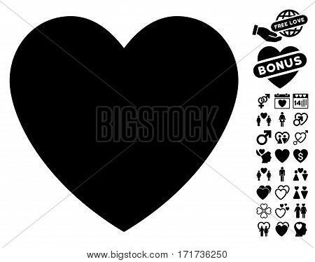 Love Heart pictograph with bonus amour pictograms. Vector illustration style is flat iconic black symbols on white background.