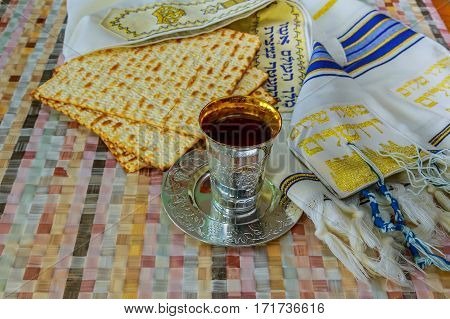 Top View Of Passover Background. Wine And Matzoh Jewish Holiday Bread