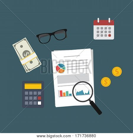 Financial Analysis. Calculator, Cash Of Money, Dollar Coin, Calendar, eyeglasses, magnifying glass and financial Document Report