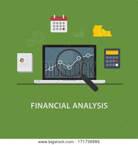 Financial Analysis Concept. Laptop with Chart and Magnifying Glass and Financial Symbol