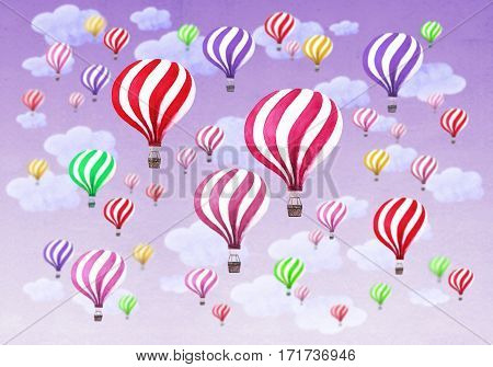 Hot air balloons with clouds on purple, pink, violet sky background. Watercolor pattern with hot air balloons. Hand drawn watercolour collage illustration. Texture for greeting cards, banners, posters, prints