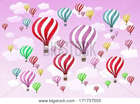 Hot air balloons with clouds on purple pink violet sky background. Watercolor pattern with hot air balloons.