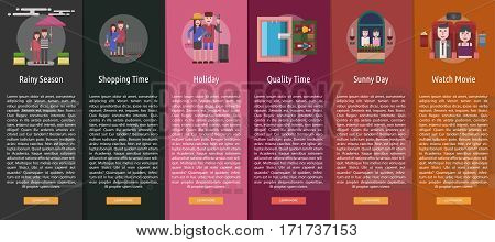 Valentine Vertical Banner Concept | Set of great vertical banner flat design illustration concepts for valentine, romance, holiday and much more.