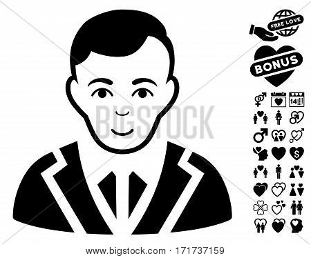 Noble icon with bonus passion graphic icons. Vector illustration style is flat iconic black symbols on white background.