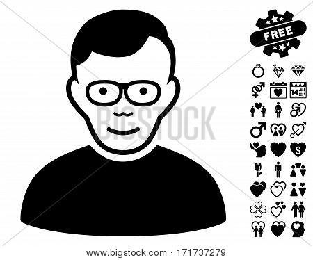 Pensioner icon with bonus valentine design elements. Vector illustration style is flat iconic black symbols on white background.