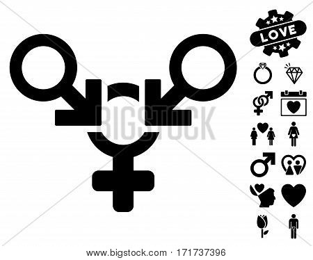 Polyandry icon with bonus amour icon set. Vector illustration style is flat iconic black symbols on white background.