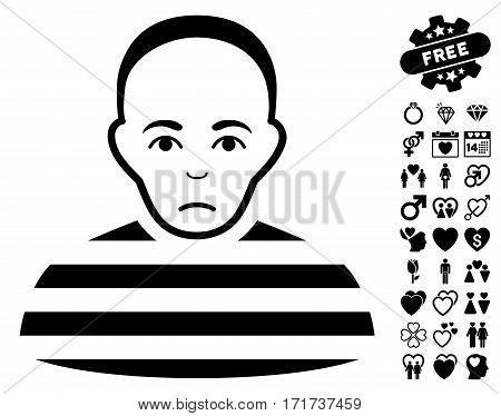 Prisoner pictograph with bonus valentine pictograms. Vector illustration style is flat iconic black symbols on white background.