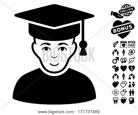 Professor icon with bonus love pictograph collection. Vector illustration style is flat iconic black symbols on white background.
