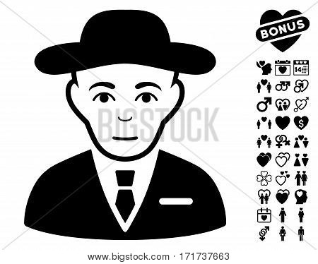 Secret Service Agent pictograph with bonus lovely clip art. Vector illustration style is flat iconic black symbols on white background.