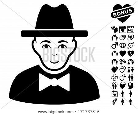 Spy pictograph with bonus amour icon set. Vector illustration style is flat iconic black symbols on white background.