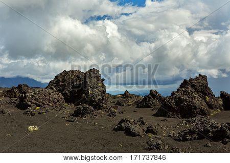 Old lava fields on the slopes of volcanoes Tolbachik