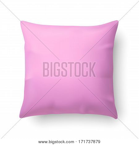 Close Up of a Pink Pillow Isolated on White Background