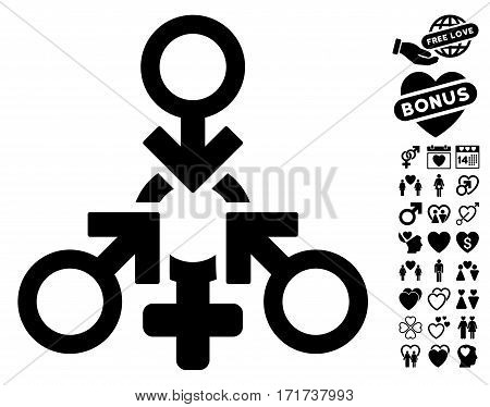 Triple Penetration Sex pictograph with bonus decorative symbols. Vector illustration style is flat iconic black symbols on white background.