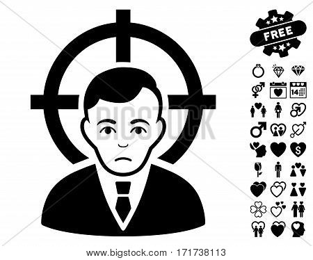 Victim Businessman pictograph with bonus valentine pictures. Vector illustration style is flat iconic black symbols on white background.