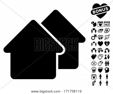 Village icon with bonus marriage graphic icons. Vector illustration style is flat iconic black symbols on white background.
