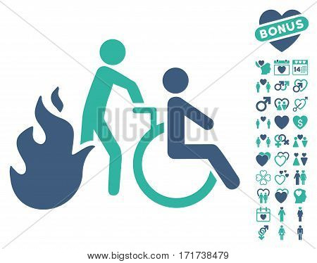 Fire Patient Evacuation icon with bonus dating graphic icons. Vector illustration style is flat iconic cobalt and cyan symbols on white background.