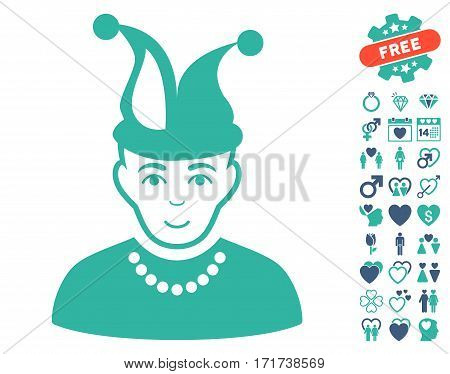 Fool pictograph with bonus decorative design elements. Vector illustration style is flat iconic cobalt and cyan symbols on white background.
