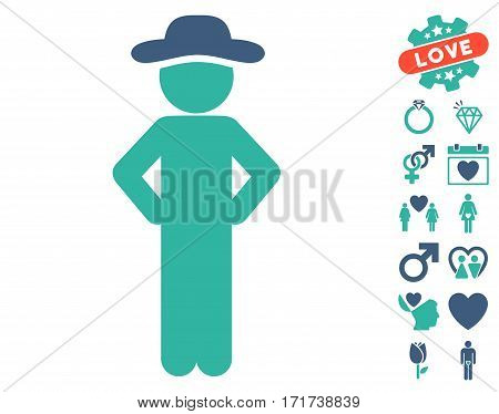 Gentleman Akimbo pictograph with bonus passion pictures. Vector illustration style is flat iconic cobalt and cyan symbols on white background.