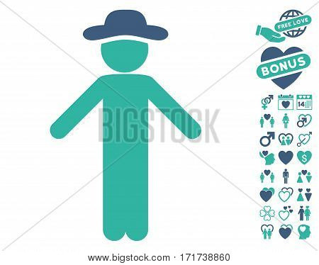 Gentleman Apology pictograph with bonus dating design elements. Vector illustration style is flat iconic cobalt and cyan symbols on white background.